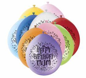 Happy Birthday Mum Balloons pk10