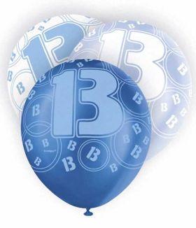 Age 13 Blue glitz balloons, 12 ins, pk6