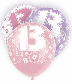 Age 13 Pink glitz balloons, 12 ins, pk6