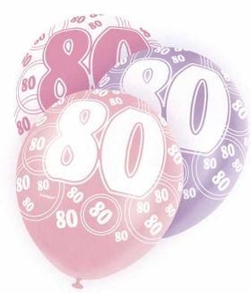 Age 80 Pink glitz balloons, 12 ins, pk6