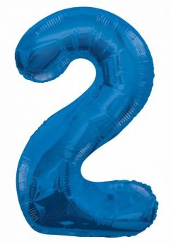 Blue Glitz Number Foil Balloon - 2