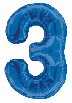 Blue Glitz Number Foil Balloon - 3