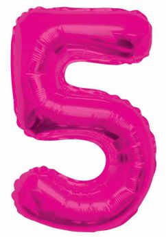 Pink Glitz Number Foil Balloon - 5