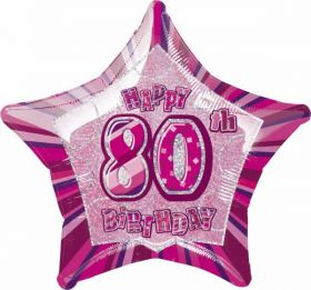 Pink Glitz Star 80 Foil Party Balloon