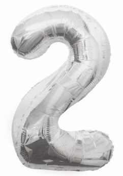 Silver Glitz Number Foil Balloon - 2