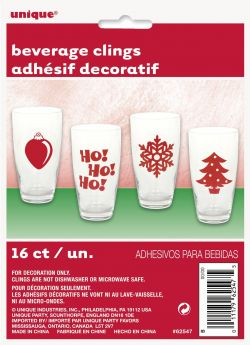 Christmas Beverage Clings pk16