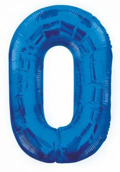 Blue Glitz Number Foil Balloon - 0