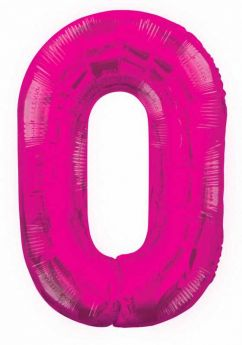 Pink Glitz Number Foil Balloon - 0