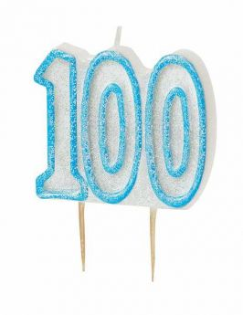 Blue Glitz 100 Party Candle