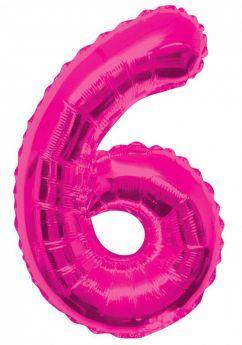 Pink Glitz Number Foil Balloon - 6