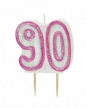 Pink Glitz 90 Party Candle
