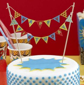 Super Hero Pop Art Cake Bunting