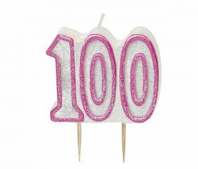 Pink Glitz 100 Party Candle