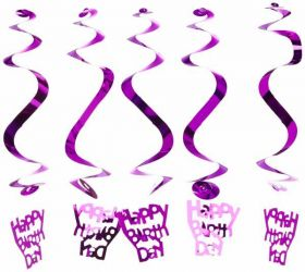 Happy Birthday Hanging Swirl Decoration