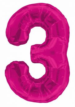 Pink Glitz Number Foil Balloon - 3