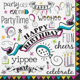 Doodle Birthday Lunch Napkins pk16