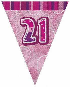 Pink Glitz 21 Party Flag Banner 9 ft