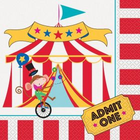 16 Circus Carnival Lunch Napkins