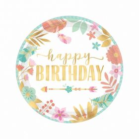 Boho Birthday Girl Metallic Paper Plates 18cm, pk8