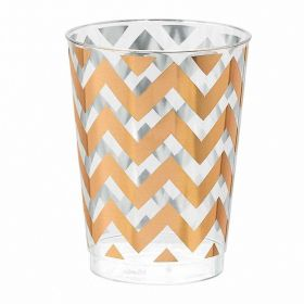 Rose Gold Chevron Premium Plastic Tumblers 284ml  pk20