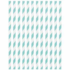 Robin's Egg Blue Paper Straws, pk24
