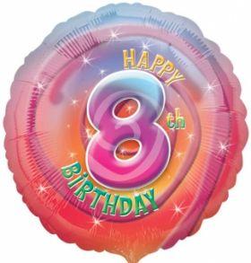 Happy 8th Birthday Circle Foil Balloon