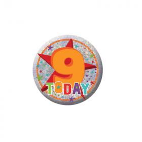 Happy 9th Birthday Holographic Badge
