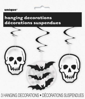 Skull & Bat Hanging Swirl Decorations pk3