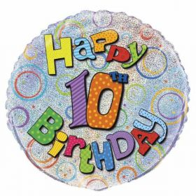 Happy 10th Prismatic Helium Balloon