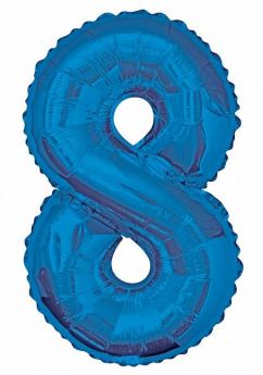 Blue Glitz Number Foil Balloon - 8