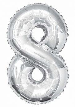 Silver Glitz Number Foil Balloon - 8
