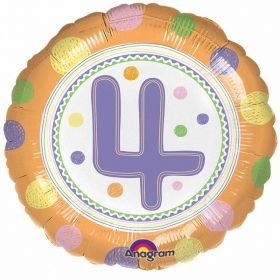 SpotOn 4th Happy Birthday Standard Foil Balloons