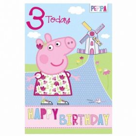 Peppa Pig Age 3 Birthday Card
