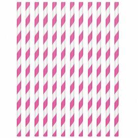Bright Pink Paper Straws, pk24