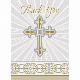Gold & Silver Radiant Cross Thank You Notes, pk8