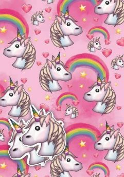 Unicorn Emoji Gift Wrap 2 sheets & 2 tags