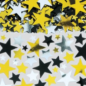 Gold/Black/Silver Metallic Stars Big Pack Confetti