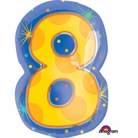 Confetti Dots Number 8 Junior Shape Foil Balloon