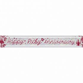 Ruby Anniversary Holographic Foil Banners 2.7m