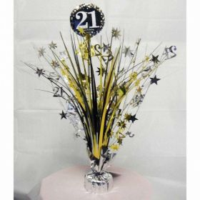 Gold & Silver Sparkling Celebration 21st Centrepiece Sprays 33cm