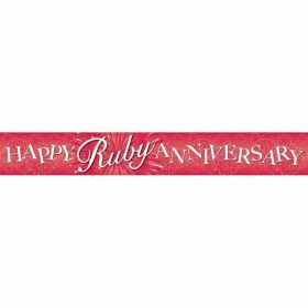 Foil Banner Happy Ruby Anniversary Holographic