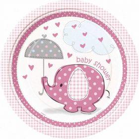 "Umbrellaphants Pink 9"" Baby Shower Plates 8pk"