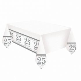 Sparkling Silver Anniversary Plastic Tablecovers