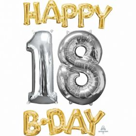 """Happy 18 B-Day"" Phrase&Number Bunch Foil Balloon"