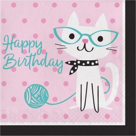 Purr-fect Party Lunch Napkins Happy Birthday, pk16