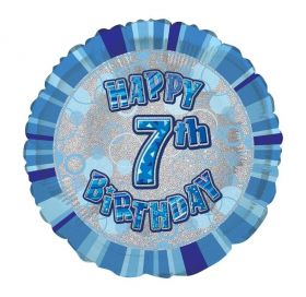 Blue Age 7 Prismatic Foil Balloon 18''