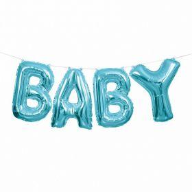 Blue 'Baby' Letter Foil Balloon Banner Kit 14''