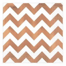 Rose Gold Chevron Hot Stamped Premium Luncheon Napkins 33cm