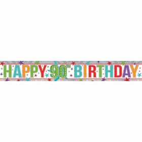 Multi Colour 90th Birthday Holographic Foil Banner 2.7m