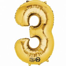 Number 3 Gold SuperShape Foil Balloon